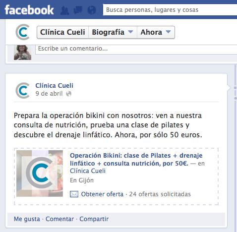 Un cupón hecho por la CM de la clínica y publicado en FB sin depender de terceros.