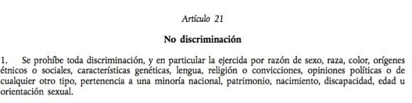 Artículo 21 de la Carta de los Derechos Fundamentales de la UE