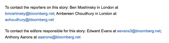 Detalle de la noticia de Bloomberg sobre la muerte de Moritz.